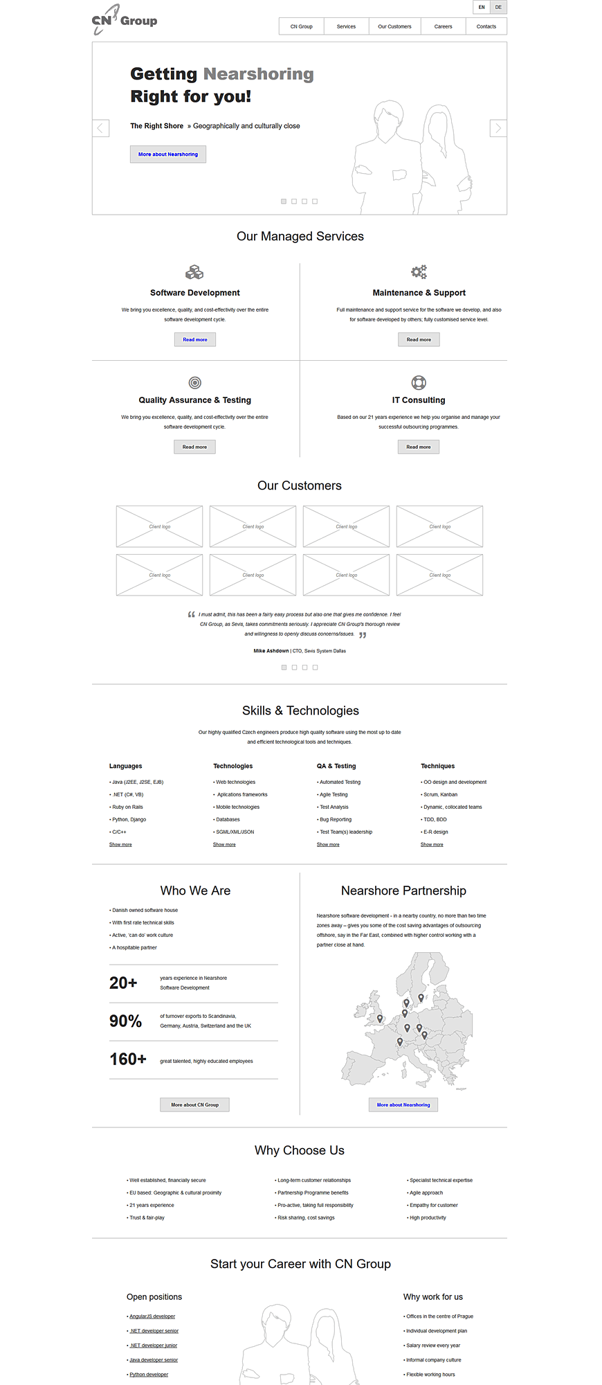 CN Group wireframes